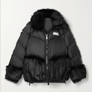 Nike x Sacai NRG Black Faux-Fur Down Jacket NWT